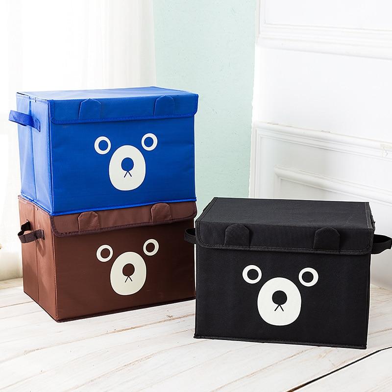 Storage Bin Container Toy-Organizer Wardrobe Fabric Linen Folding Kids Cotton Cartoon