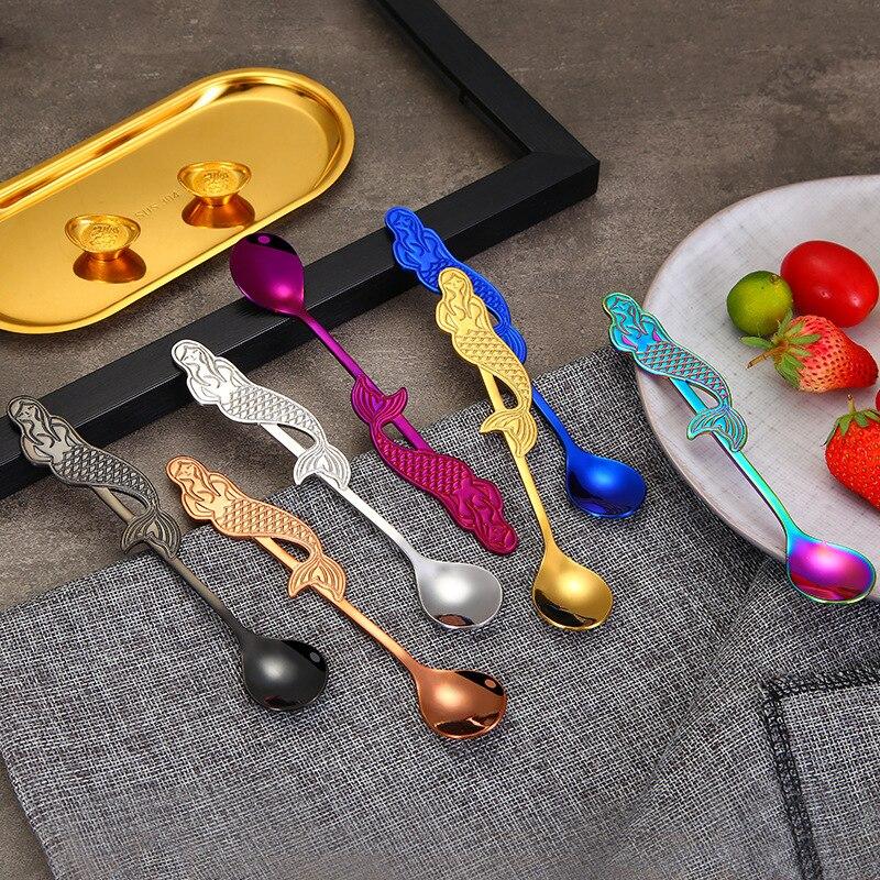 4PCS Tea Spoon Mermaid Coffee Stainless Steel Kitchen Food Grade 304 Material Accessories Set