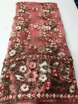 Nigerian Lace Fabric 2019 High Quality Lace Beaded Lace Fabric Wedding Pink African With Beads Nigerian French Lace Fabric FJU22