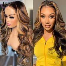 RULINDA 1/27 Ombre Color T-part Lace Body Wave Wig human hair Wigs Brazilian Front Wigs for Women Non-Remy Middle Part