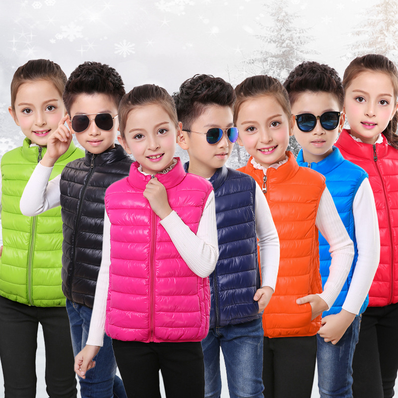 Куртка без рукавов для мальчиков, Симпатичный жилет для девочек, зимний пуховой жилет, жилеты, детская одежда, Осеннее детское теплое пальто, хлопковый жилет