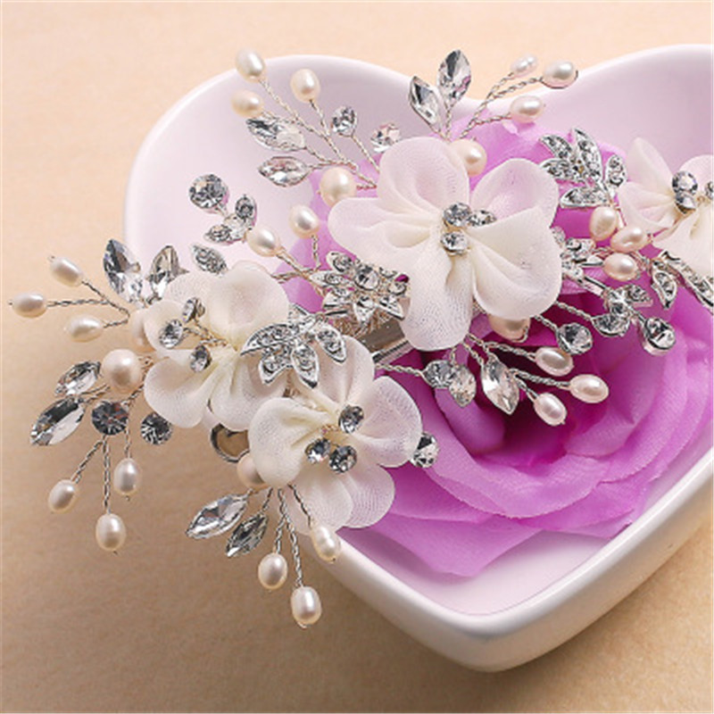 Red Flower Handmade Bridal Headwear Wedding Jewelry Accessories For Bride Crystal Rhinestones Jewelry Pearl Hairpins Silver Comb