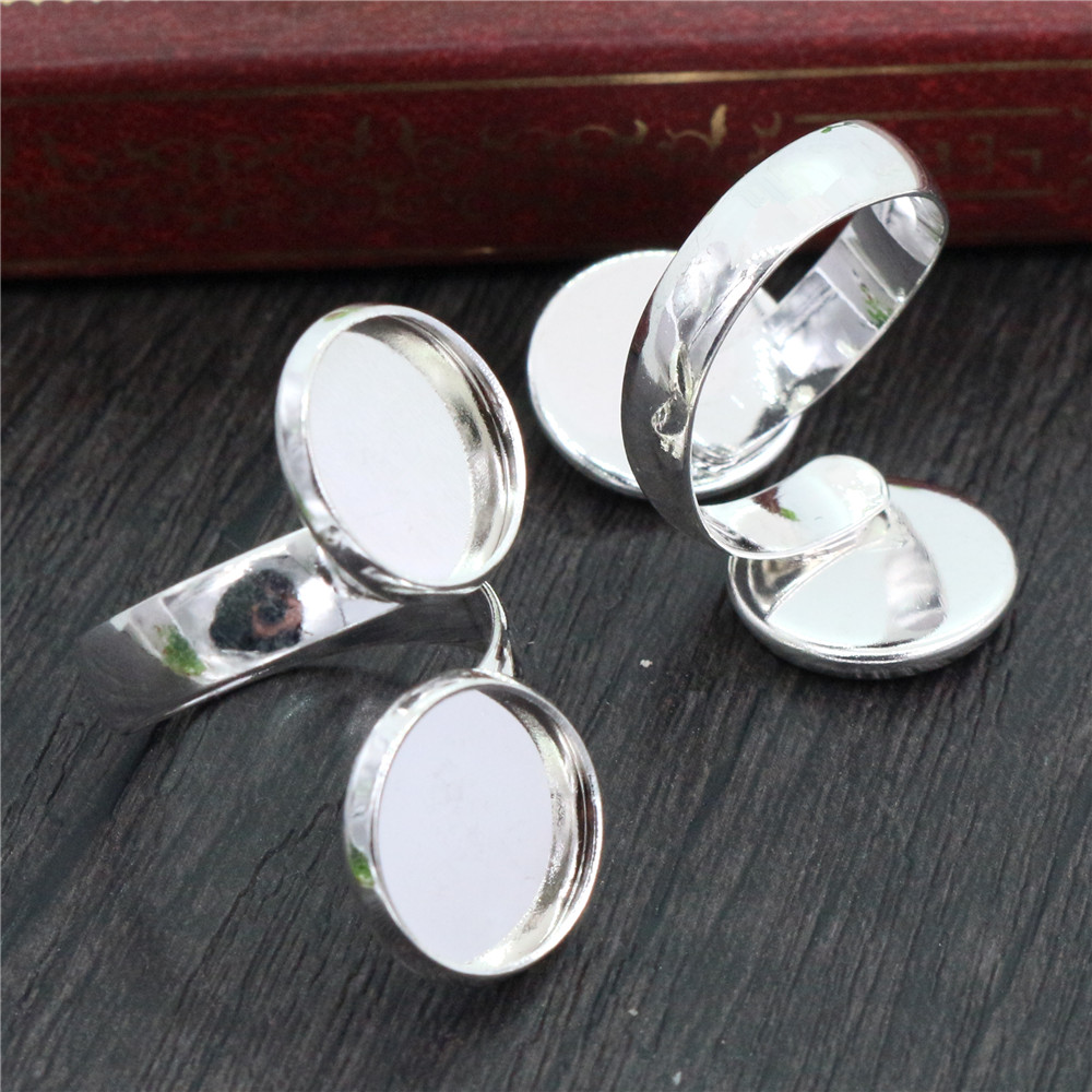 12mm 5pcs Silver Plated Brass Adjustable Ring Settings Blank/Base,Fit 12mm Glass Cabochons,Buttons;Ring Bezels J3-39