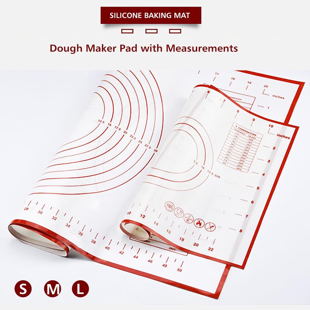 Silikon pişirme Mat hamur makinesi Pad ölçümleri ile kaymaz yapışmaz Rolling hamur işi matı mutfak için doğum günü düğün parti