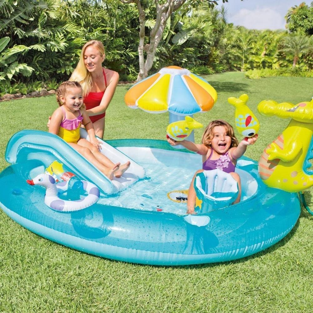 Egoes Inflatable Pool   57129 GATOR CHILDRENS ACTIVITY WATER PLAY CENTRE PADDLING POOL SLIDE SPRAY