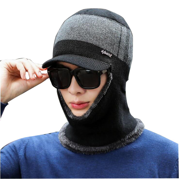 Winter Wool Balaclava Face Skullies Beanie  Mask Hats Men Beanie Dual-use Hat Ear Protectors Knitted Hat Scarf Suits For Women