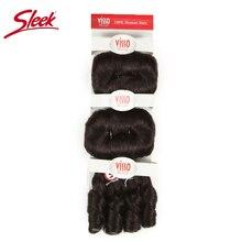 Sleek Hair Extension Kleur 2 Bruin Bundels Remy Braziliaanse Haar Weefsel Bundels Glam Korte 3PCS Krullend Remy Menselijk Haar extensions