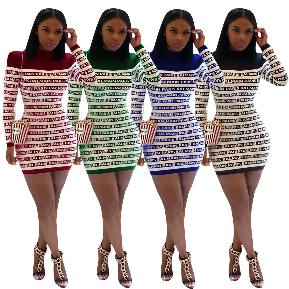 Dashiki African Dresses Fashion Letter Printed Short Pencil Dress Autumn Long Sleeve Casual Mini Dress Hot Sale Office Lady Robe