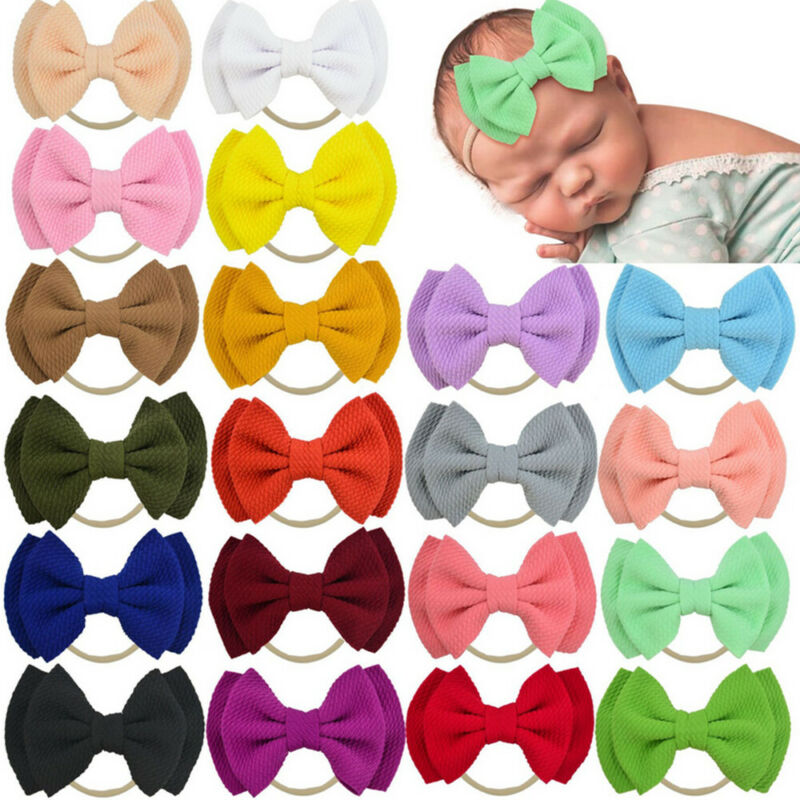Dropshipping Toddler Girls Hair Band Girl Lace Double Bow Hair Band Kid Girls Party Headband Gift Photography Props 14 Color