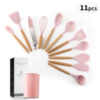 11Pcs Silicone Turner Soup Spoon Spatula Brush Scraper Pasta Server Egg Beater Kitchen Cooking Tools Kitchenware
