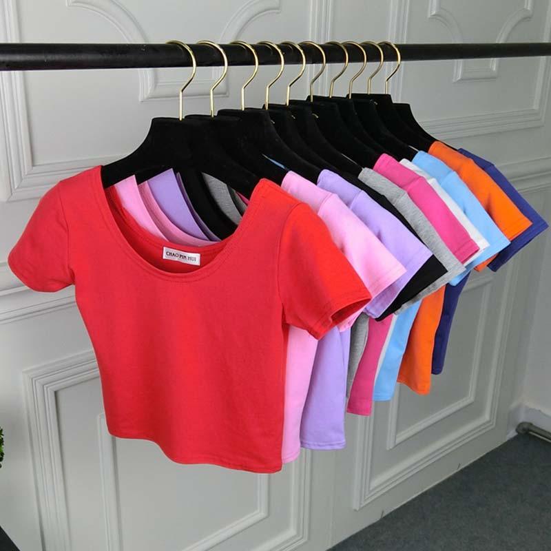 Popular Sexy 1PC Tee Top Female Short Sleeve Girls High Quality Stretch Women Fashion U Neck T-shirt