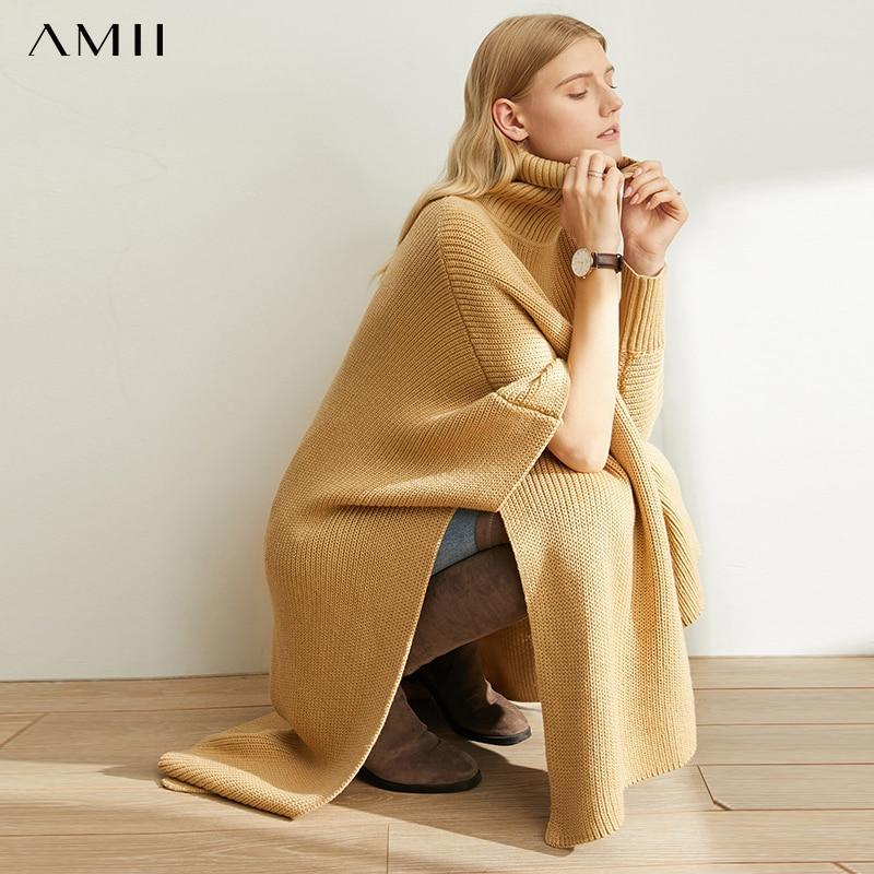 AMII Minimalist Irregular Knitted Sweater Winter Women Batwing Sleeve Split Loose Female Pullover Turtleneck Sweater 11880072