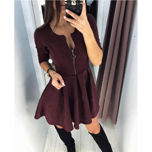 2020 Spring New Fashion Casual Three Quarter Sleeve ONeck Four-leaf Zip Dress Party Prom Sexy Dresses Female Vintage Vestidos