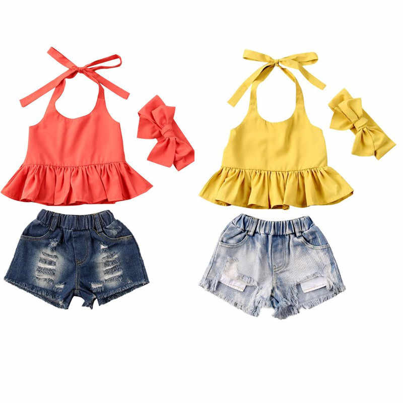 Zomer Peuter Kid Baby Meisje Kleding Strap Top Holey Denim Shorts Hoofdband 3Pcs Outfit Set