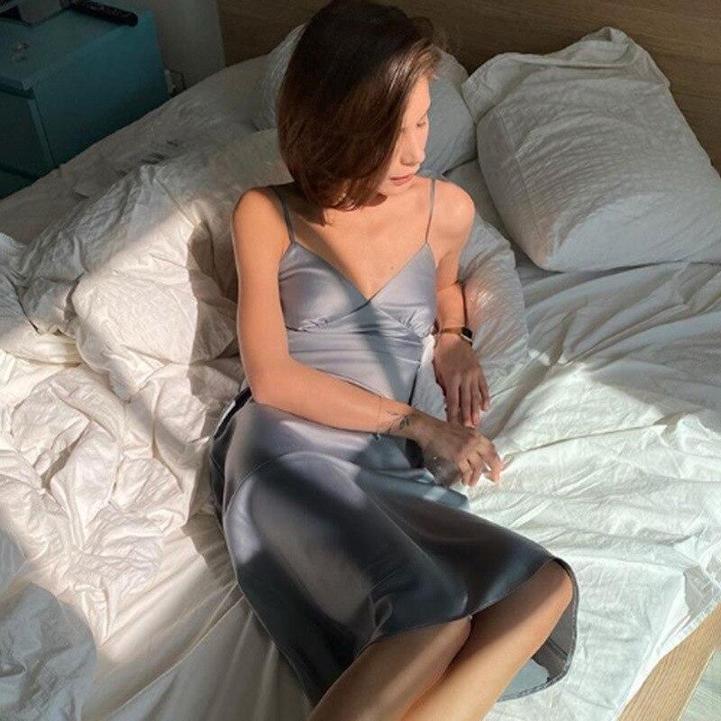 Женское атласное платье с глубоким V-образным вырезом, однотонная прямая Пижама Вечерние вечернее платье, элегантное женское летнее Повсед...