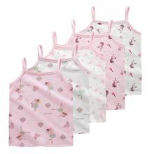5 sztuk/partia dla dzieci dziewczyny bawełniana koszulka dla dzieci kreskówkowe topy bielizna zabudowany biustonosz sportowy 2-10 lat