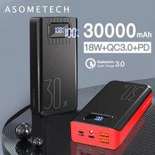 Banco de energía de 30000mAh, 18W, QC3.0 PD, carga rápida bidireccional, pantalla LED, batería externa portátil, Cargador rápido para tableta y teléfono inteligente