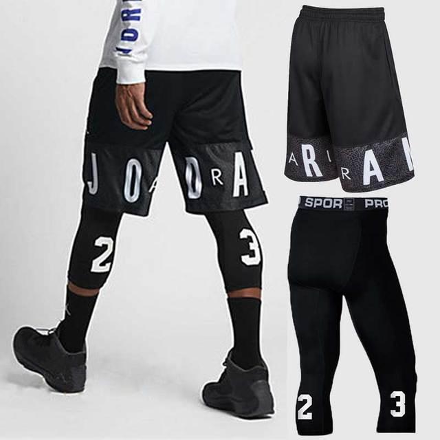 Мужские баскетбольные наборы, спортивные быстросохнущие тренировочные шорты + колготки для мужчин, футбольные упражнения, Пешие прогулки, ...
