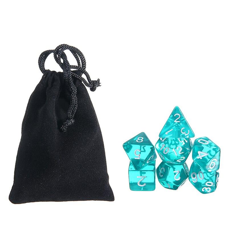 Оптовая продажа, 7 шт. зеленых полупрозрачных кубиков с сумкой, набор многогранных кубиков для драконов и подземей, ролевая игра D4-D20, игровые...