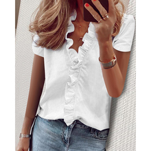 Plus Size S-3XL Women Elegant Ruffles Solid V Neck Short Sleeve Blouse