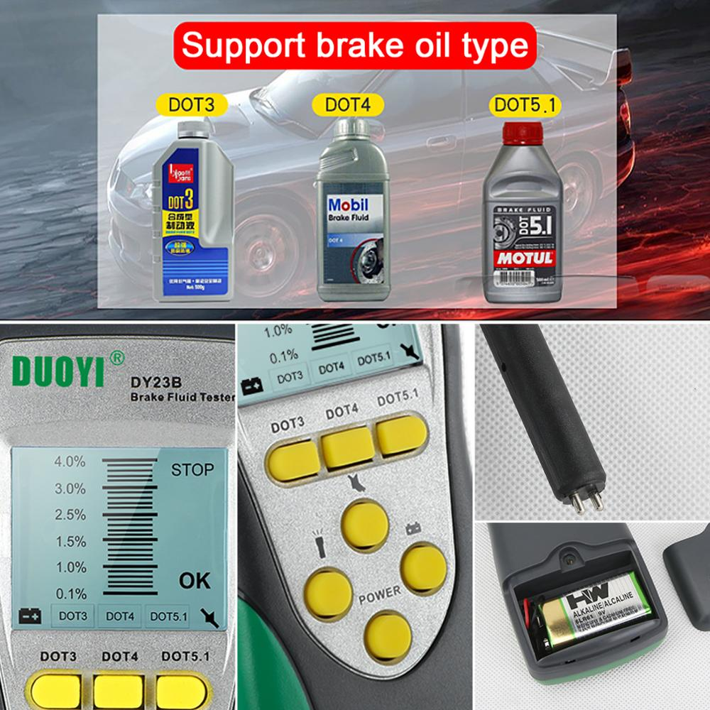 lowest price DUOYI Car Brake Fluid Tester DY23 DY23B Accurate Test Automotive Brake Fluid Water Content Check Universal Oil Quality DOT 3 4 5