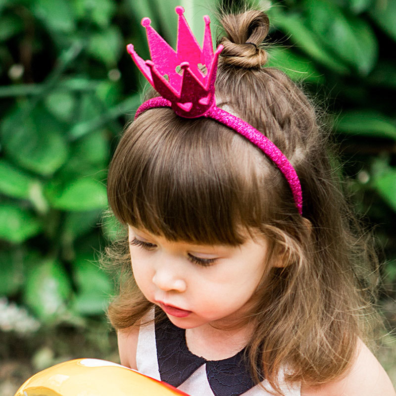 Ncmama Hair Accessories Hairbands For Girls Baby Crown Headbands Glitter Rose/Gold Hair Hoop Queen Hair Bands Party Headwear