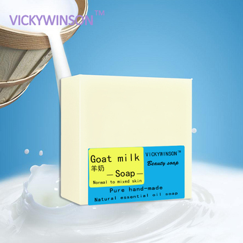 VICKYWINSON Goat's milk Handmade soap 100g Allergy Repair Shrink Pores Anti Acne Moisturizing Skin Whitening Soap Bath Hair Care donkey milk soap 100% natural handmade 120g hair skin beauty whitening moisturizing cleaner antibacterial acne treatment