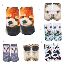 Drop shipping 2019 Summer New Fashion 3D Straight socks Wolf in a suit Funny animals Print Men/Women casual Socks Y724