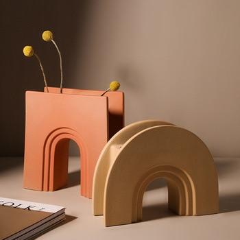Nordic Style Art Geometry Arch Flower Vase Morandi Ceramic Creative Contracted Sample House Porch Desktop Home Decor LC 1