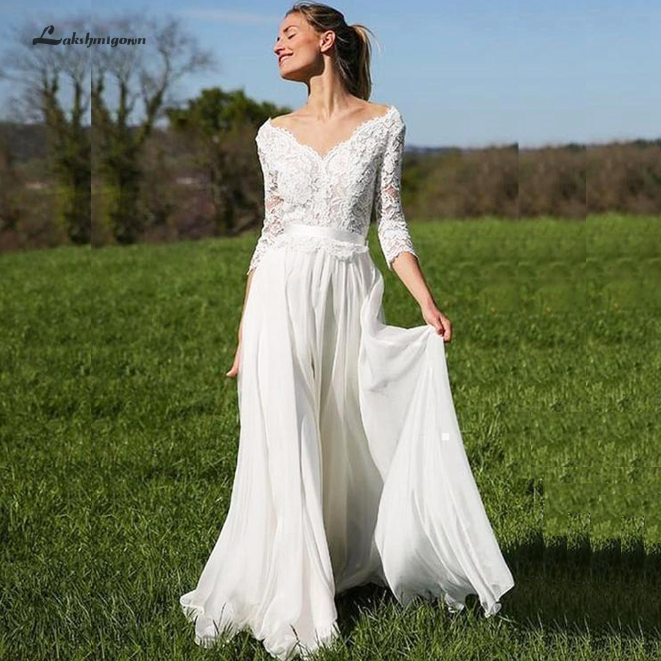 Lakshmigown A Line Wedding Dress Beach With Sleeves 2020 Vintage Lace Applique Robes De Mariee Chiffon Long Bridal Gown Backless