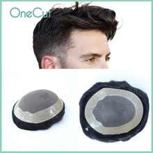 Men Toupee Durable Mono NPU Base 30mm Wave Indian Remy Hair Replacement System Men's Prosthesis Hairpieces Natural Black Peruk
