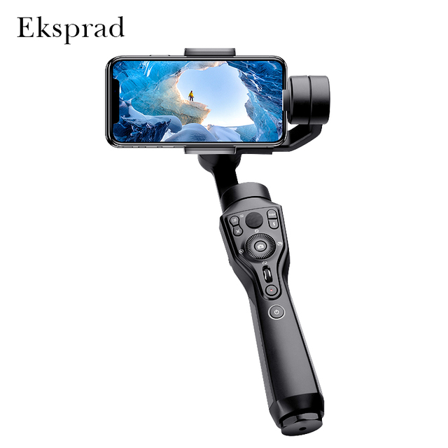 Eksprad 3 Axis Handheld Gimbal Stabilizer Focus Pull Zoom Following the Shooting Mode for iPhone 11 XR XS Samsung Action Camera