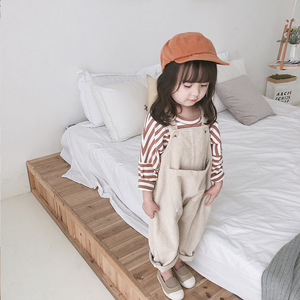 Image 3 - 2020 Spring Korean style baby girls corduroy loose overalls cute kids casual all match suspender trousers bib pants