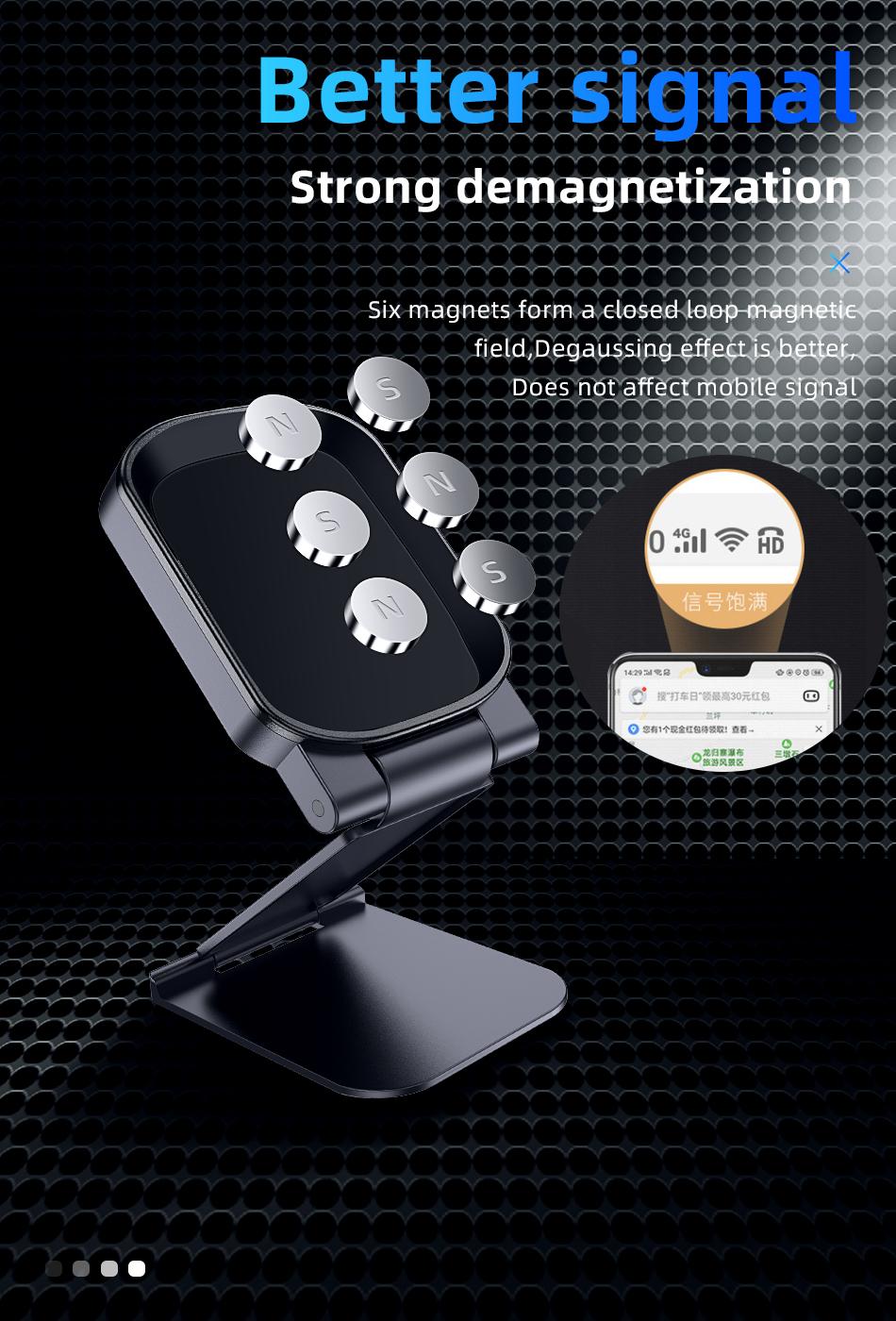 !ACCEZZ Car Magnetic Holder Phone Stand For 11 X Center Console Folding Adjustable Magnet Support Desktop Bracket (4)