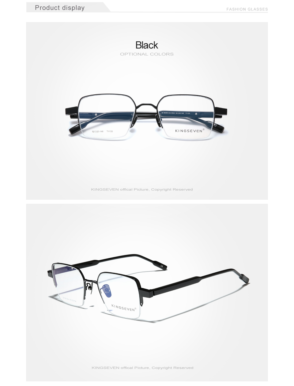 KINGSEVEN Pure Titanium+Acetate Optical Glasses Half Frame Men 2020 Square Myopia Prescription Eyeglasses Male Metal Eyewear