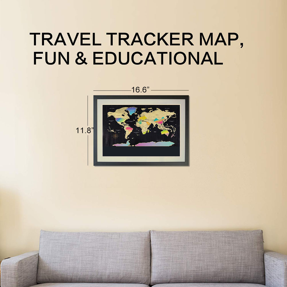 World Map Scratch Off Travel Scratch For Map Room Home Decor Wall Stickers Gifts JHP-Best