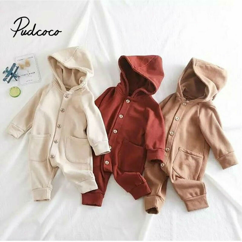 2019 Baby Spring Autumn Clothing Newborn Infant Baby Boy Girls Kid Solid Long Sleeve Hooded Button Pockets Romper Winter Warm