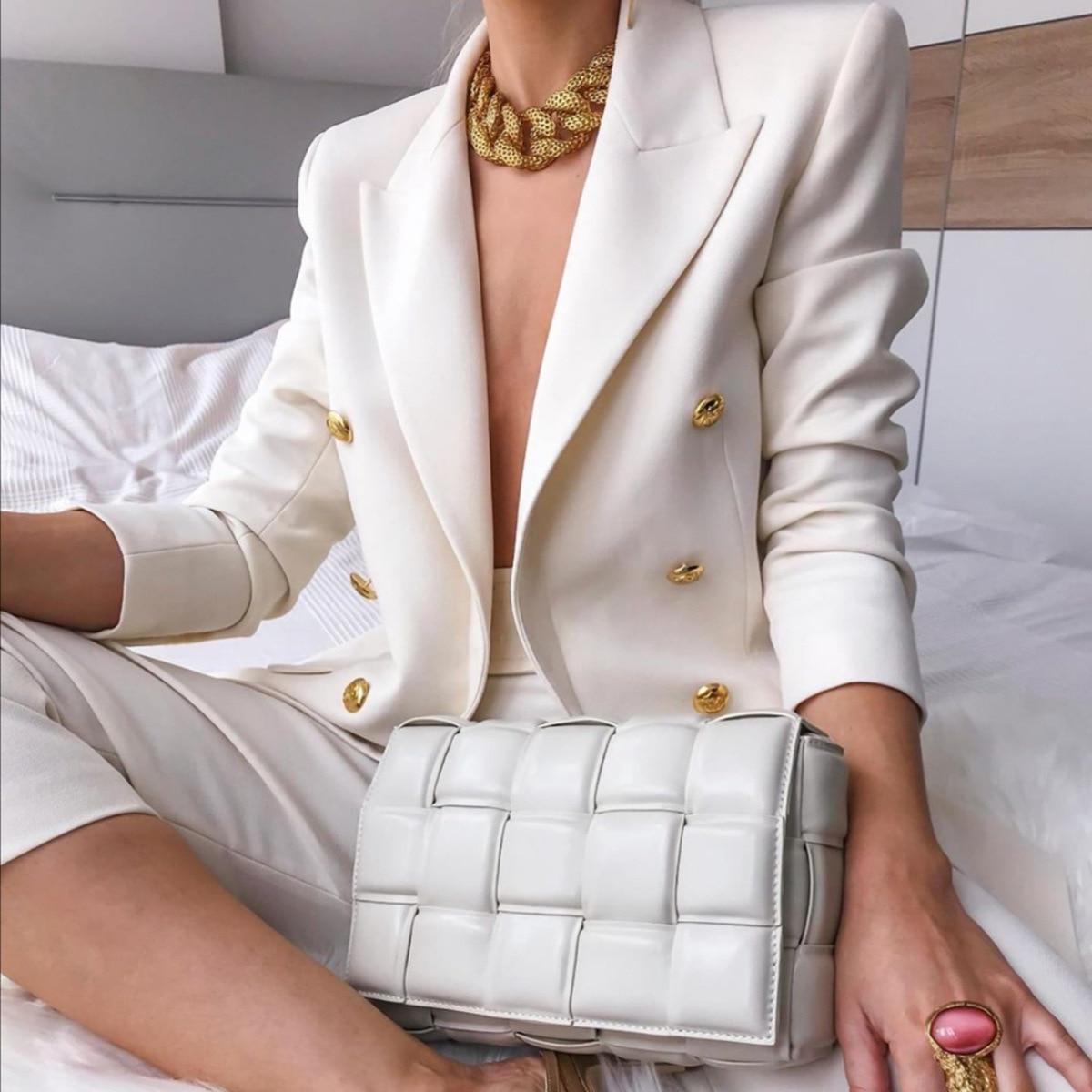 Casual Blazer Coat Women Jacket 2020 Autumn Solid Long Sleeve Office blazer Female Oversized Sim Single-breasted Suit Coat Woman