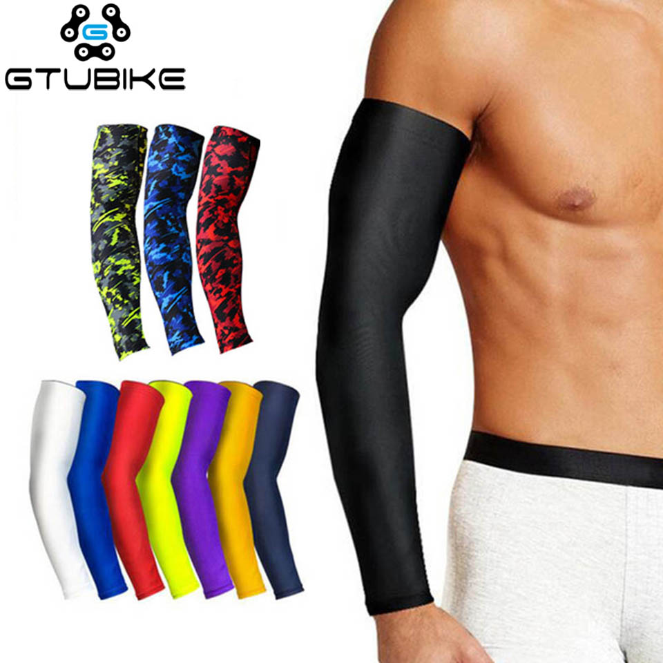 Sports Compression Arm Sleeve Basketball Cycling Arm Warmer Summer Running UV Protection Volleyball Sunscreen Bands