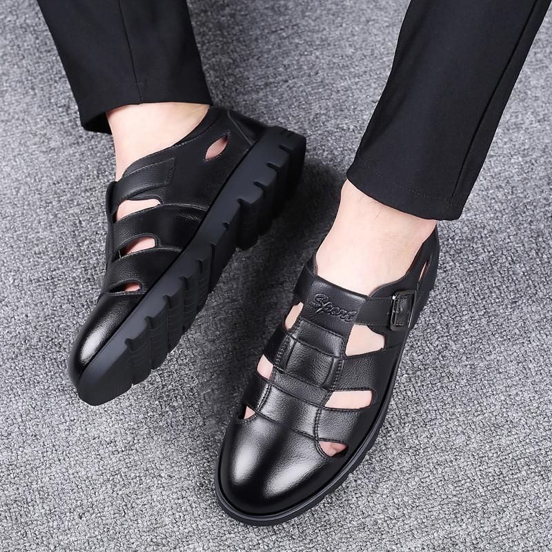 2019 Men Sandals Genuine Leather Sandals Men Outdoor Casual Men Leather Sandals For Men Beach Shoes Roman Shoes Plus Size 38-47