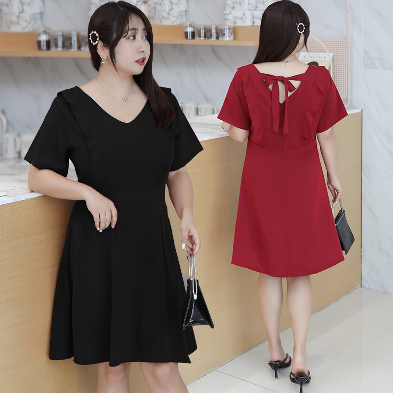 [Xuan Chen] Large GIRL'S 2019 Summer New Products Large Size Dress Mid-length French Charade Skirt Slimming 1805