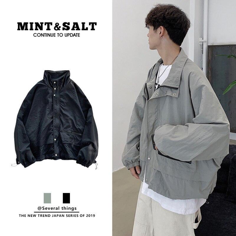 Осенняя мужская модная однотонная Повседневная куртка с большим карманом и стоячим воротником, Мужская Уличная Свободная куртка-бомбер в