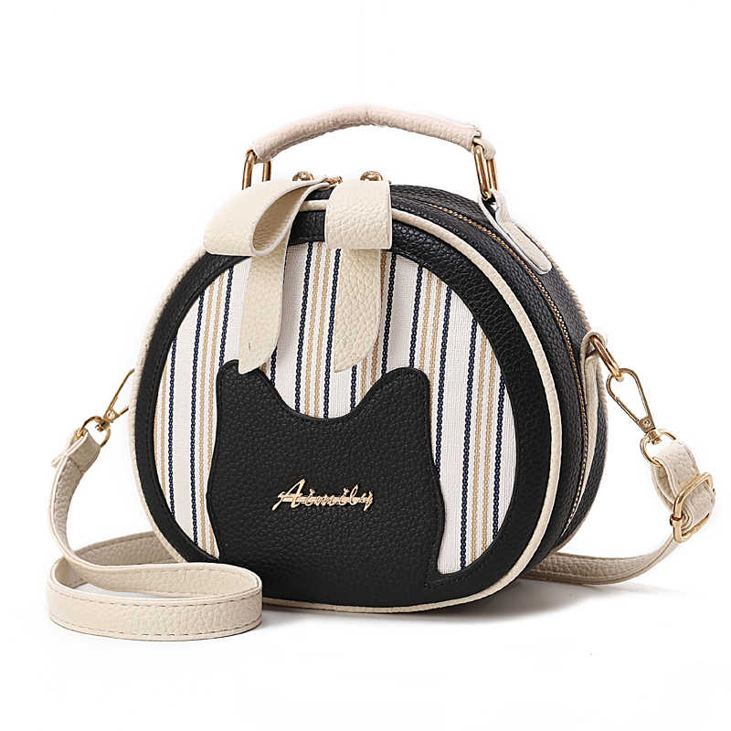 Top-handle 2019 Mulheres Pequenas bolsas de Couro PU Rodada feminino Sacos de Ombro Crossbody Saco De Marca Designer de Moda Senhoras Casuais