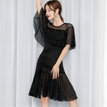 Women Latin Dance Dress Salsa Tango Ballroom Sequins Ruffle Rumba Practice Dancewear 904-B140