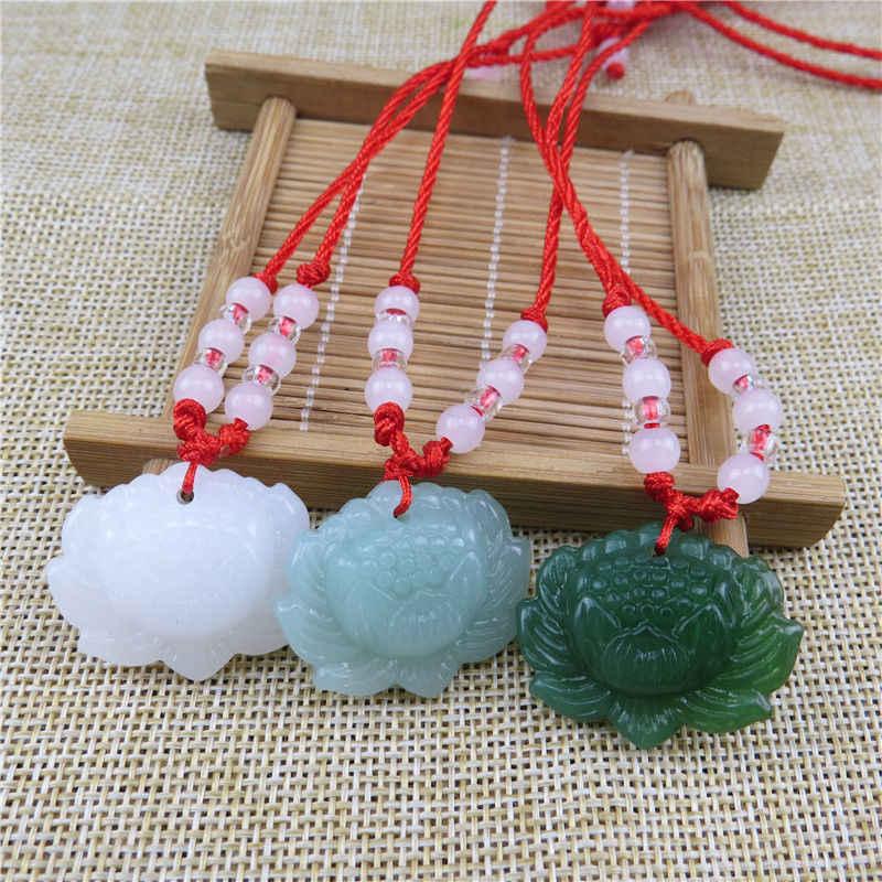 Jade verde natural pingente de lótus contas colar charme jóias moda acessórios mão-esculpida mulher sorte amuleto presentes