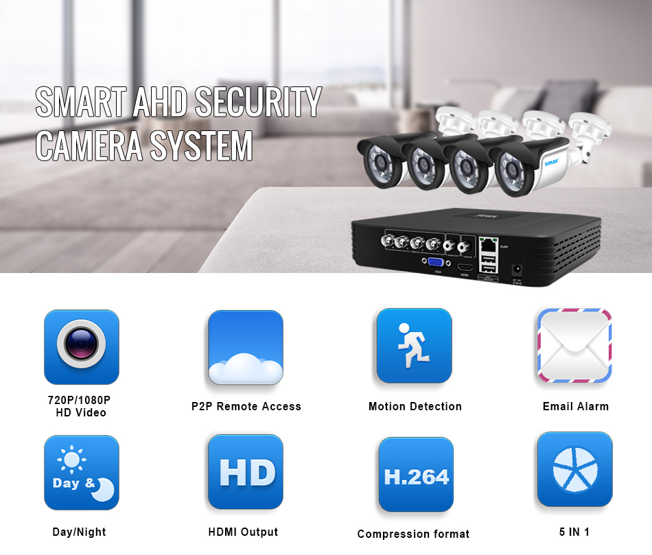 Smar CCTV camera System 4CH 720P1080P AHD Security Camera DVR Kit CCTV Waterproof Outdoor Home Video Surveillance System XMEYE (1)
