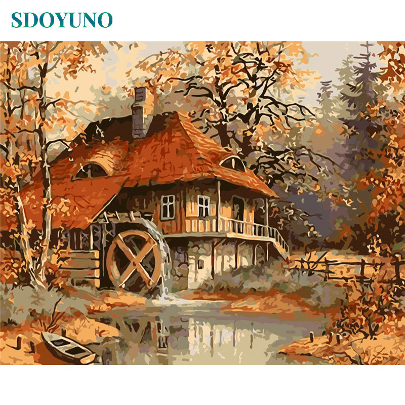 SDOYUNO Oil Painting By Numbers Nature Landscape Autumn Cottage 60x75cm DIY Frameless Number Painting Pictures By Numbers