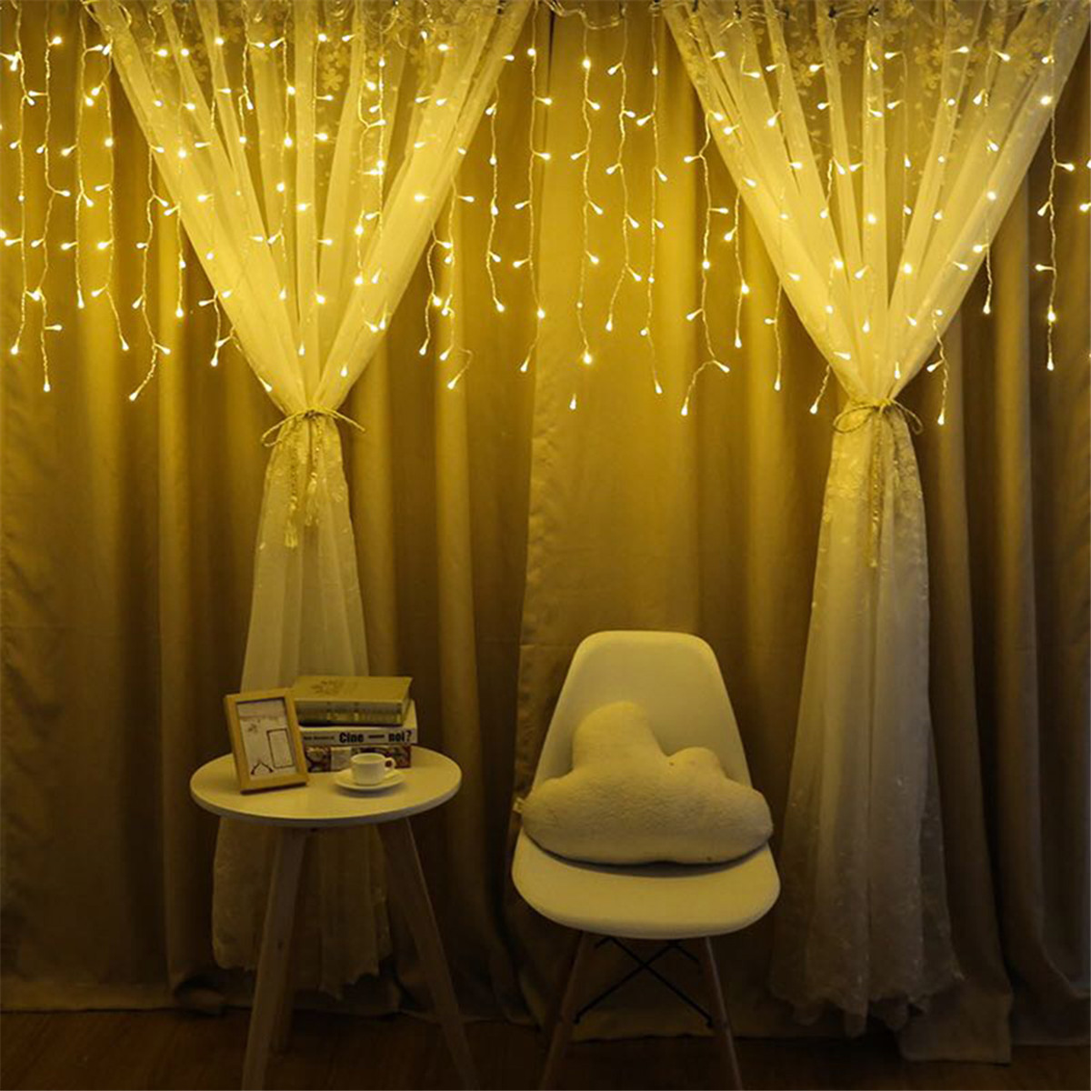 4m String Lights Christmas Outdoor Decoration Drop  Drooping Curtain Icicle String Led Light Garden Party Decoration