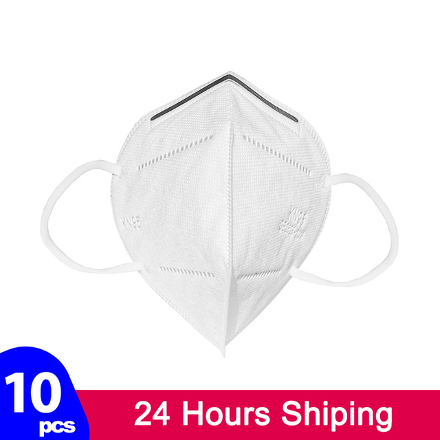 KN95 Facial Protective Face Masks Breathable 5-Ply Filtration Cotton Anti-Haze Safety Earloop Dustproof Mouth Mask Fast Shipping