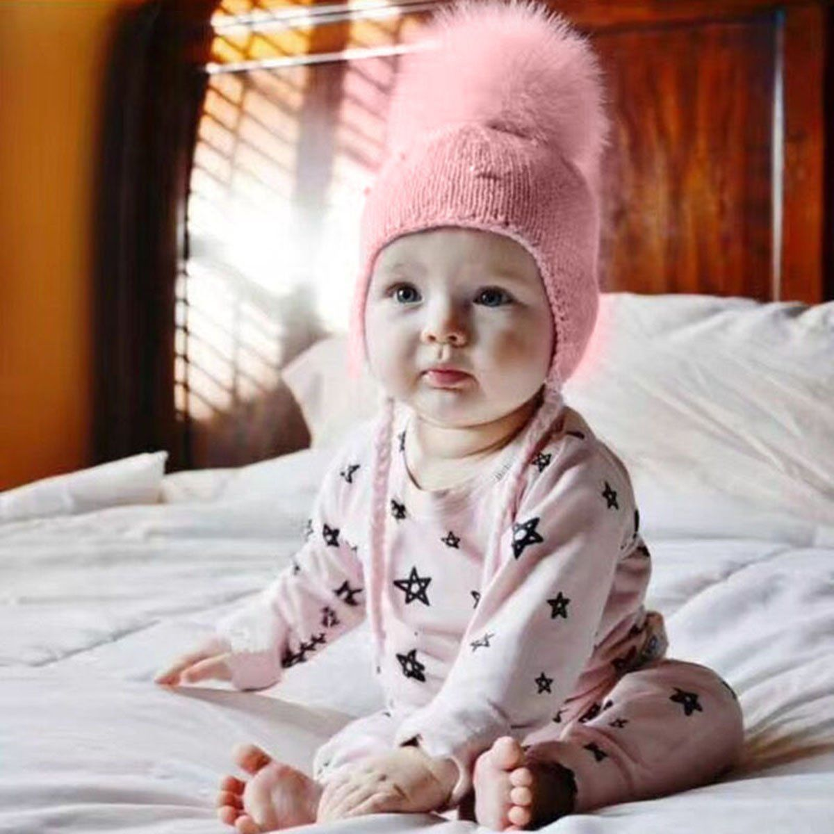 Hot Sale Solid Cute Baby Toddler Kids Girl Infant Winter Warm Pearl Crochet Knit Hat Beanie Cap  Ears Beanie Fur Pompom Cap 1-3Y